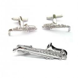 Saxophone Cufflinks and Tie Bar Set