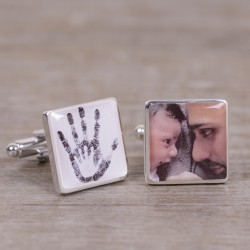 Two Hands Baby and Daddy Photo Cufflinks