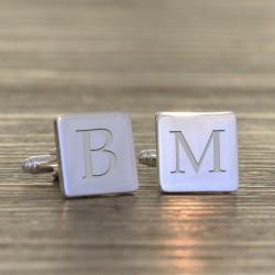 Single Initial Engraved Cufflinks- Personalised Square Cufflinks