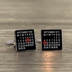Personalised Black Special Date Calendar Cufflinks