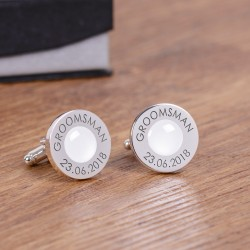 Personalised White Wedding Party Role Cufflinks
