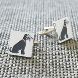 Grey Schnauzer Dog Cufflinks