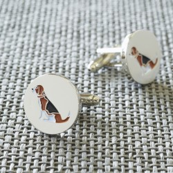 Sitting Beagle Dog Cufflinks