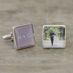 Initials and  Photo Cufflinks - Personalised Cufflinks