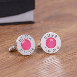 Personalised Pink Wedding Party Role Cufflinks