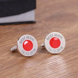 Personalised Red Wedding Party Role Cufflinks