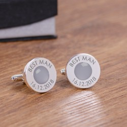 Personalised Grey Wedding Party Role Cufflinks