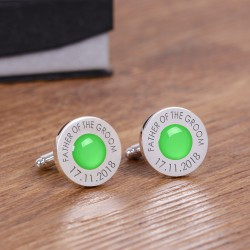 Personalised Green Wedding Party Role Cufflinks