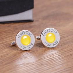 Personalised Yellow Wedding Party Role Cufflinks
