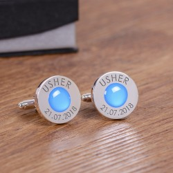 Personalised Blue Wedding Party Role Cufflinks