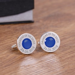 Personalised Royal Blue Wedding Party Role Cufflinks