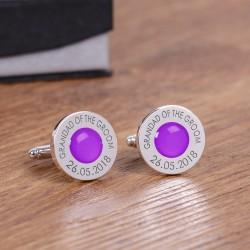 Personalised Purple Wedding Cufflinks