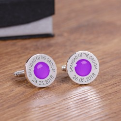 Personalised Purple Wedding Party Role Cufflinks