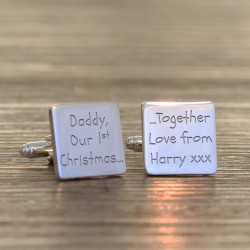 daddy Our 1st Christmas Cufflinks - Personalised Cufflinks