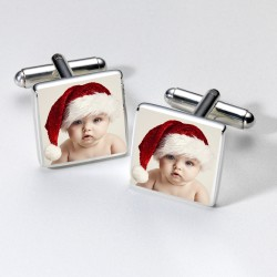 Christmas Photo Cufflinks - Any Photo- Personalised Cufflinks