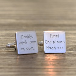 Daddy with love on our 1st Christmas - Personalised Cufflinks