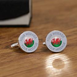 Personalised Welsh Flag Cufflinks