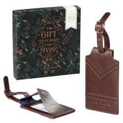 Ted Baker Walnut Brown Luggage Tags - Set Of 2