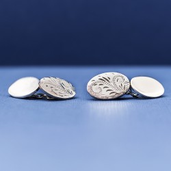 Sterling Silver Double Oval Cufflinks ESQUIRE