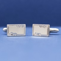 ESQUIRE Sterling Silver Engraved Edge Cufflinks