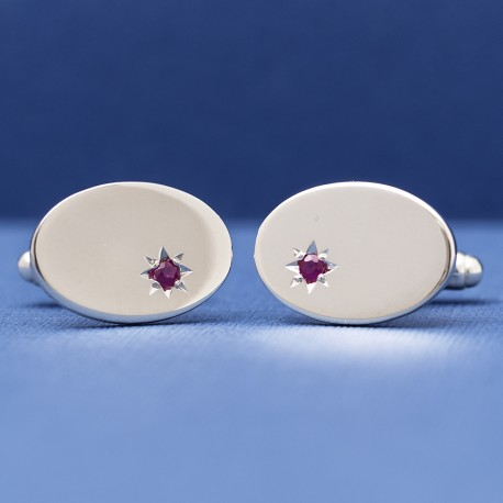 Esquire - 925 Silver with Ruby Star Cufflinks