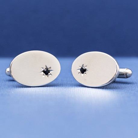 Sterling Silver Sapphire Cufflinks ESQUIRE