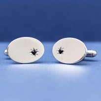 ESQUIRE - 925 Silver with Sapphire Star Cufflinks