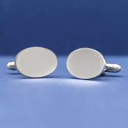 ESQUIRE 925 Solid Silver Oval Cufflinks