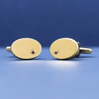 ESQUIRE Ruby with Gold Plate Cufflinks