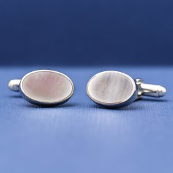 ESQUIRE Oval Mother of Pearl 925 Silver Cufflinks