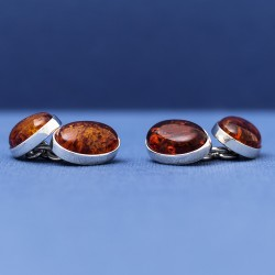 Genuine Amber 925 Sterling Silver Cufflinks | Luxury Gem Cufflinks