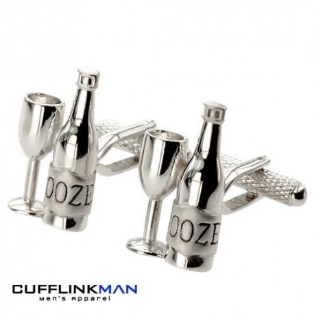 Wine Bottle and Glass (Booze) Cufflinks