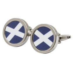 Round Scottish Saltire Flag Cufflinks