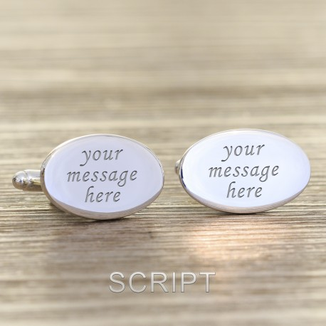 Any Design Engraved Cufflinks- Personalised Oval Cufflinks
