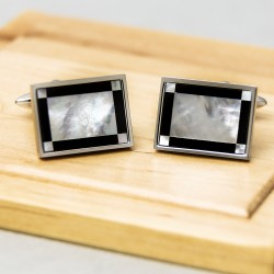 Mother of Pearl and Onyx Frame Cufflinks