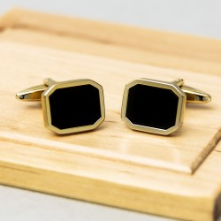 James Kinross Onyx Gold plated Cufflinks