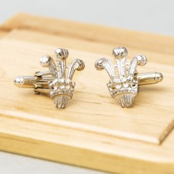 Prince of Wales feathers - Sterling Silver Cufflinks