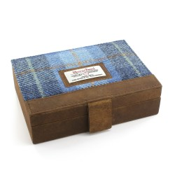 Harris Tweed and Leather Cufflinks Case