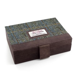 Harris Tweed Leather Cufflinks Case Carloway Tartan