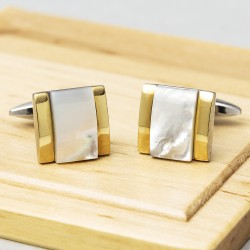 James Kinross Mother of Pearl Gold Arch Cufflinks