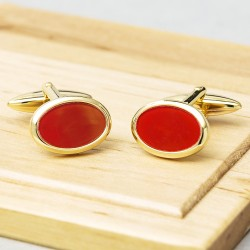 James Kinross Gold Cornelian Cufflinks