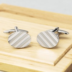 JJames Kinross Designer Oval Lined Executive Classic Cufflinks