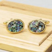 Paua Shell Gold Cufflinks