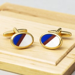 James Kinross - Oval Multi-stone Gold plate cufflinks