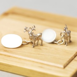 Stag Cufflinks - Sterling Silver