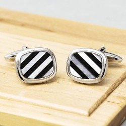 Right Lines - Mother of Pearl & Onyx Stripe Cufflinks