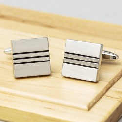 Silver Square River Cufflinks