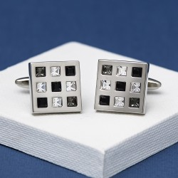 Rosso Black Crystal Square cufflinks Andrew Worth
