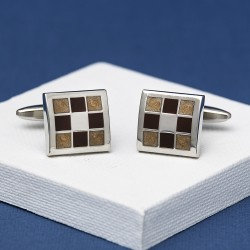 Andrew Worth Gradient Brown Chequered Cufflinks