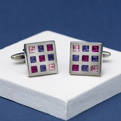 Rosso Purple Crystal Square Cufflinks Andrew Worth